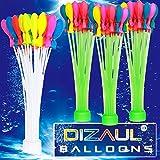 水風船 Dizaul 水爆弾-111個予め装着されたバルーン(3束x37)+交換用1束37個風船、60秒以内に一気に膨らませて縛る、水を入れて投げ合う、暑い夏の水遊びに子供玩具