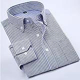 WENJUN から選ぶ2色のカジュアルなストライプのシャツ長袖茶色のアイロンのビジネスのメンズシャツ長袖シャツ (色 : Blue stripes, サイズ さいず XXL) WENJUNfuzhuang
