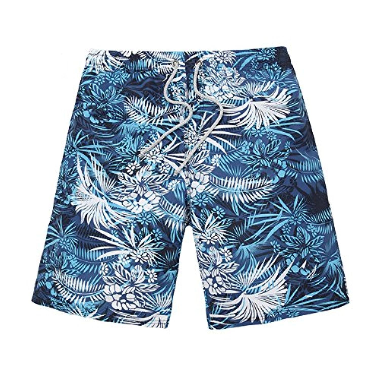 ゆるい薄手のメンズサーフパンツ 速乾性軽量夏用パンツ プラント印刷 (サイズ : S)