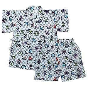 《盛夏 甚平》(ジンベイ) 日本製ベビー男児 リップル生地和柄甚平スーツ 80cm /オフシロ NO.OG-75548