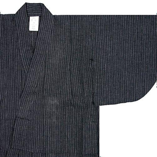 (キョウエツ) KYOETSU ボーイズ浴衣 しじら 綿麻生地 110-150cm 単品 (150cm, 細縞×黒)