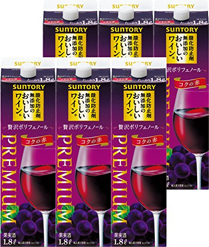 酸化防止剤無添加のおいしいワイン。 贅沢ポリフェノール (コクの赤) 1800ml×6本 紙パック