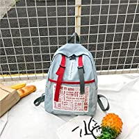 ZHANGYOUDE Graffiti Words Pattern Double Shoulders School Bag Travel Backpackage Bag (Black) (Color : Baby Blue)