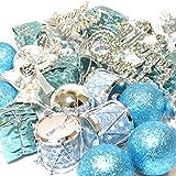 オシャレ かわいい クリスマス ツリー リース 用 オーナメント 飾り ブルー シルバー 32個 セット ボール ベル ドラム プレゼント メリークリスマス ロゴ (a.ブルー 32個セット)