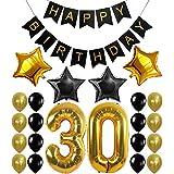 IPALMAY 誕生日 飾り付け ブラック ゴールド キラキラ 30歳 HAPPY BIRTHDAYガーランド バルーン 風船 セット (黑金)