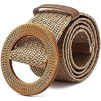 TOOGOO Straw Wide Belt Female Woven Vintage Round Wooden Buckle Decorative Dress Shirt Belt Khaki