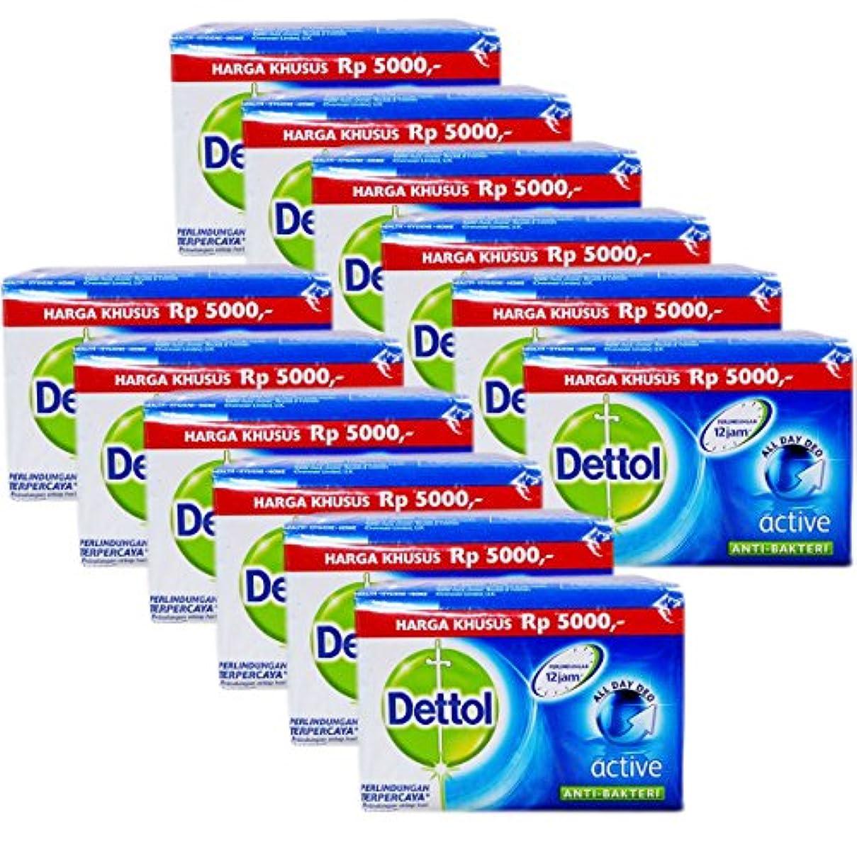 航海のマーチャンダイザー蛾Dettol(デトール) Anti-Bacterial Hand and Body Bar Soap, Active, 110 Gr / 3.88 Oz (12個セット)