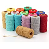 328feet 2mm Macrame Cord, Twisted Cotton Rope, Soft Colorful Craft Cord, Rustic Twine String Cotton Rope for Handmade Plant H