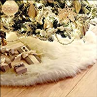 Kicode 白 クリスマスツリーのスカートぬいぐるみ エプロンクリスマスオーナメントはクリスマスパーティーのホームインテリアを印刷します