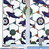 SmaTabi 窓用フィルム ガラスフィルム 窓 ステンドグラス風 水だけで貼れる 目隠しシート 遮光 断熱 UVカット (90cm x 400cm イルカ模様)