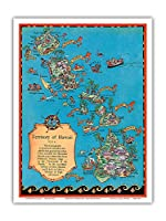 ハワイ地図のテリトリー - ビンテージカラーの地図製作のマップ によって作成された ルース・テイラー・ホワイト c.1931 - アートポスター - 23cm x 31cm