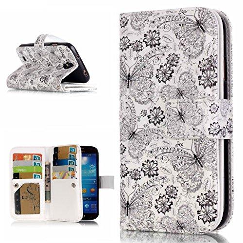 OMATENTI Samsung Galaxy S4 用 PUレザー手帳型ケース [強化ガラスフィルムを無料で贈ります] [無期限生涯補償付き] 耐摩擦 耐汚れ 全面保護 フリップ 人気 横開き スマートフォン カバー (バタフライ #1)