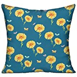 菊柄 高品質 低反発 座布団 クッション 椅子用 かわいい オシャレ 寝具 中袋 中身:綿 45 X 45