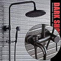 浴室のレインシャワーシステム、調節可能なスライドバーオイルブロンズ/ブラックウォールマウントされた - ラインシャワーとハンドヘルド - 豪華なバスルームシャワーセット