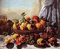 手書き-キャンバスの油絵 - 美術大学の先生直筆 - 静物 Fruit Realist 現実主義 painter Gustave Courbet 絵画 洋画 複製画 -サイズ09