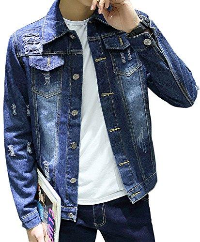 (ゆうや)YoYeah デニムジャケット メンズ ウォッシュ ダメージ ブルゾン ファッション 服 男性 カジュアル 上着 長袖 修身 blue M