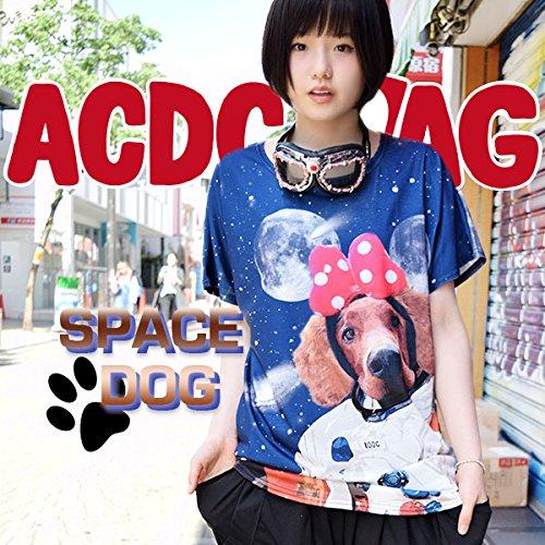 ルークTシャツ 犬柄 宇宙柄 原宿系 青文字系 動物 アニマル かわいい ACDCRAG