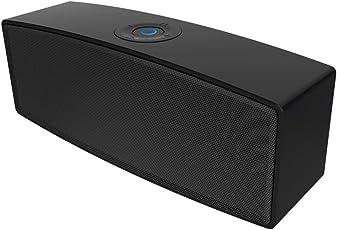 BluetoothスピーカーLENRue ブルートゥーススピーカー 高品質ポータブル、AUXオーディオケーブル有線再生、USBメモリー、TFカード、、内蔵マイク、強力な互換性、ベッドルーム、書斎、リビングで使用でき、ブラック