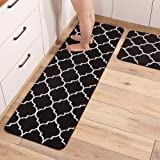 Gigicloud 2Pcs/Set Microfiber Kitchen Floor Mat Anti Slip Oil Absorption Water Absorption Balcony Carpet Black 43X61+43X122cm