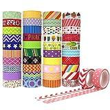 Aplanet マスキングテープ 和紙テープ 装飾用テープ カラフル ラッピング 15mm幅×5m/巻 42巻 プレゼント包装、DIY工芸品、ノートの装飾に使える