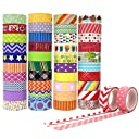 Aplanet マスキングテープ 和紙テープ 装飾用テープ カラフル ラッピング 15mm幅×5m/巻 42巻 プレゼント包装 DIY工芸品 ノートの装飾に使える