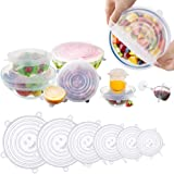 Eyshp Silicone Stretch Lids, Insta Lids, Instalids, Reusable Stretch Lids With Hanging Holes Fit Round & Square Bowls, Jars 6