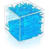 Findbetter 3d迷路 立体迷路パズル 密閉安全 6cm キューブ型 立体迷路ゲーム こども 脳トレ 知育玩具 6面完成 色の暗示 辛抱強い養成 手目脳同期 クリアブルー(冷静、沈着)