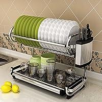 壁掛けテーブルウェア収納ラックステンレススチールダブルレイヤーキッチンラック排水ボウル皿ラックスタイルオプション ( 色 : Style 2 )