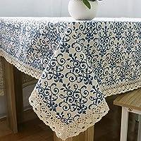 洗えるテーブルクロス レースコットンプリント長方形ダイニングテーブルクロスカバーの家の装飾の友人パーティーが付いているレトロな青と白のテーブルクロス (Color : 140*200cm)