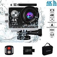 アクションカメラ スポーツカメラ 「VAXIUJA」 4K 防水 フルHD 170度広角レンズ手ぶれ補正 リモコン アクセサリー  充電器1080P高画質 手元 ウェアラブルカメラ32GSDカード対応 防犯カメラバッテリー ウェアラブルカメラドライブレコーダーとして使用可能 バイクや自転車/カート/車に取り付け可能 日本語説明書付き