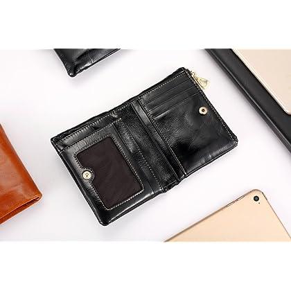 f0f87d6c14b8 DZET 二つ折り 財布 本革 レディース 小銭入れ カード入れ 写真入れ コンパクト 柔らかい ブラック