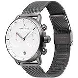 Nordgreen[ノードグリーン] 【Pioneer】 メンズのガンメタル の42mm クロノグラフ ホワイト フェイス ガンメタル メッシュ 腕時計ベルト