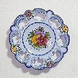 ポルトガル製 アルコバッサ 飾り皿 手描き ブルー 花柄 アズレージョ 絵皿 26cm pfa-486bl
