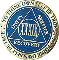 recoverychip 39 year reflex blue gold plated aa medallion xxxix chip