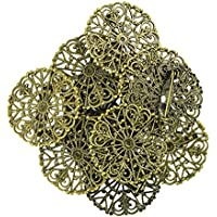 Perfk アンティーク調 花型 ブローチ 台座付き 10個 ブローチピン DIY アクセサリー 縫製材料