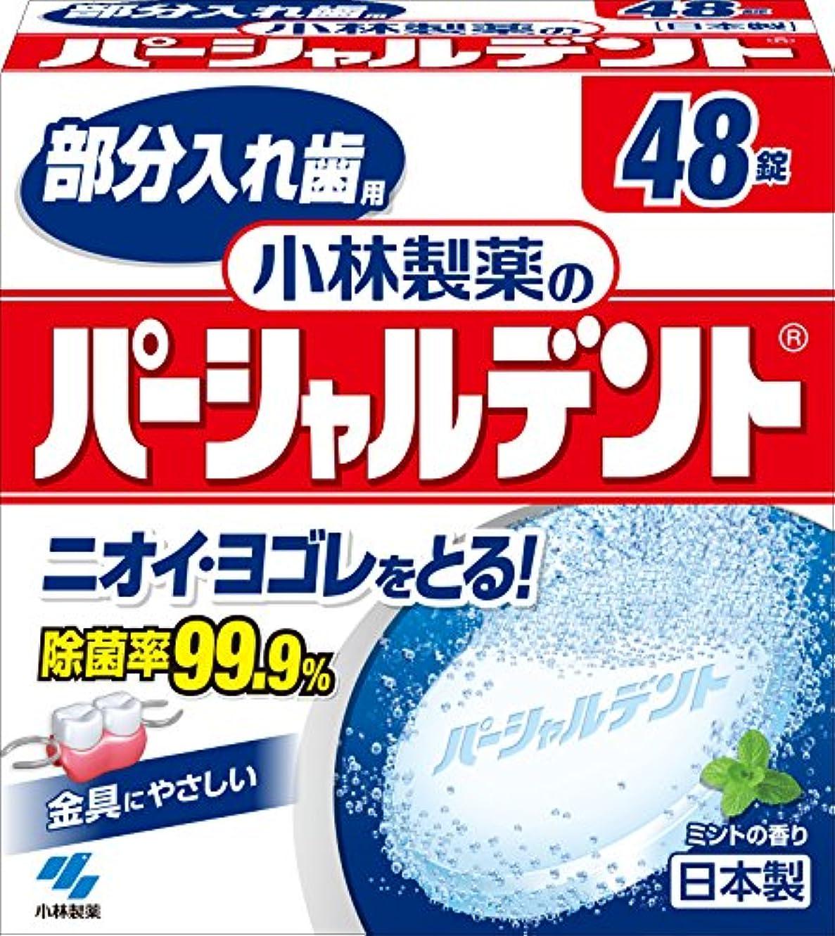 安定した色合いリーフレット小林製薬のパーシャルデント 部分入れ歯用 洗浄剤 ミントの香 48錠