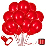 100Pack Red Balloons, 12inch Red Latex Balloons Premium Helium Quality Red Balloons for Party Supplies and Decorations(with R