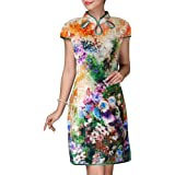 Bitablue Triple Keyholes Stretchy Impressionist Flower Chinese Dress