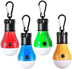 LEDミニランタン 明るい 携帯型 ポータブル テントライト 防水仕様 防災対策 登山 夜釣り ハイキング アウトドア キャンプ用 4 個セット