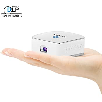 FOSONN モバイル DLPプロジェクター 日本語説明書付き ワイヤレス接続 DLNA/Miracast/Airplay対応 バッテリー・スピーカー内蔵