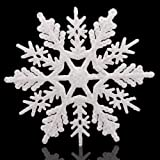 "Huangliao Large Snowflakes Set of 5 White Glittered Snowflakes Approximately 12"" D -Two Asst Designs Christmas Decorative Han"