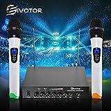 EIVOTOR  マイクセット プロ 二重チャンネル VHF無線マイク マイクシステム 受信機+2マイク(ハンドヘルド型)+ 6.5mmオーディオケーブル+電源アダプタ ステージ/カラオケ/会議/パーティー用 1