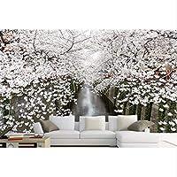 Mingld シンプルモダンカスタマイズHd風景桜の壁紙レンガの壁リビングルームの寝室E壁紙の背景-400X280Cm