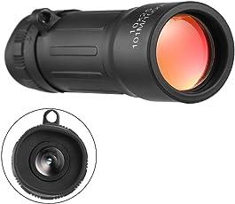 Saikogoods 単眼鏡 軽量ポケットFocズーム単眼望遠鏡10x25ハイキング狩猟キャンプ屋外スポーツ旅行キャリーポーチ(黒)とハンディスコープ