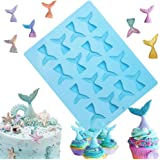 Sakolla 16 Cavity Mermaid Tail Silicone Mold for Fondant, Cake Decoration, Chocolate, Soap, Candy, Jello, Cupcake Topper, Gum