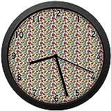 テントピエロ犬リングボール壁掛け時計ミュート家の装飾電池式時計12インチ(約30cm)として祭りカーニバル要素のコミック漫画パターン