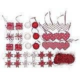 IKEA VINTER 2015 00306114 クリスマス ハンギング デコレーション 37点セット レッド