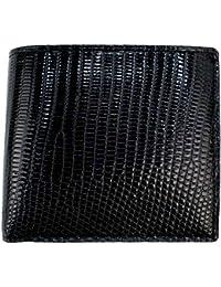 [PELLE MORBIDA ペッレモルビダ] リザードレザー 2つ折り財布 PMO-LI004 BLK(ブラック)