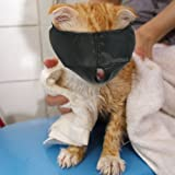Nylon Cat Muzzles,Cat Face Mask,Groomer Helpers,Cat Grooming Tools,Preventing Scratches and Anti-Biting,Black (L)