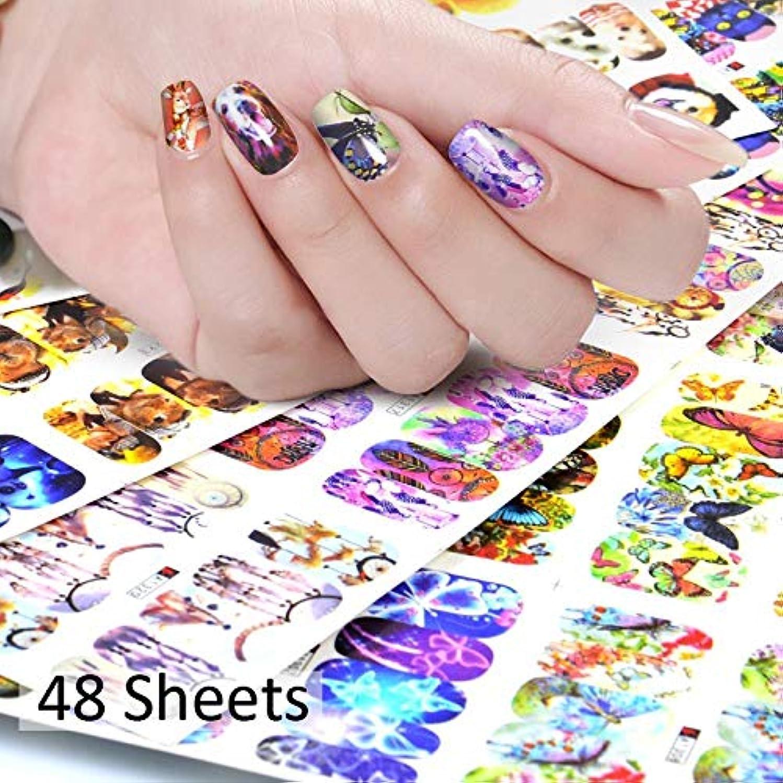 ヘビ材料さておきSUKTI&XIAO ネイルステッカー 48枚の釘の芸術のステッカーの混合された設計漫画様式の釘のステッカーの透かしの先端の装飾のマニキュア用具、48枚の用紙